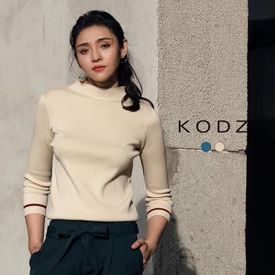 東京著衣【KODZ】歐美小立領袖織條設計針織上衣-S.M.L(172053)