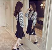 兩件套洋裝 韓版背帶裙套裝女中長款氣質長袖連身裙時尚兩件套
