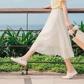 《CA1958-》韓系仙氣透膚蕾絲腰鬆緊長裙 OB嚴選