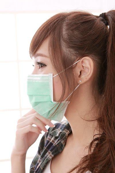 【雨晴牌-抗UV三層不織布口罩】(A級高效能)@成人-綠色@材質觸感更柔細 舒適舒適好戴 無痛耳帶