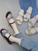 涼鞋涼鞋女夏新款韓版蝴蝶結兩穿沙灘涼拖平底森女風復古學生女鞋