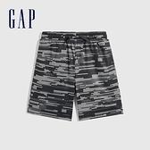 Gap男童 Logo鬆緊休閒短褲 683465-黑白印花