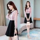 洋裝女長袖新款春秋季韓版洋氣短款修身顯瘦初秋小個子裙子 雙12全館免運