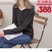 《FA1868》古典拼接蕾絲V領針織上衣 OrangeBear