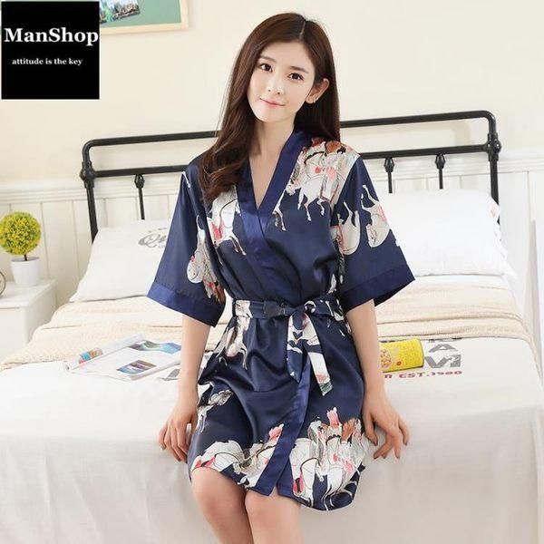 長版性感女睡袍冰絲綢吊帶兩件套浴袍 潮男街【ManShop】