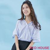 Red House-蕾赫斯-微透寬鬆條紋襯衫(共2色) 夏季優惠