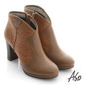 A.S.O 機能美靴 全真皮壓花奈米粗跟踝靴 茶色