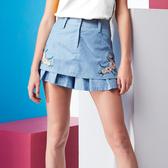 【SHOWCASE】小雛菊刺繡窄裙式牛仔褲裙(藍)