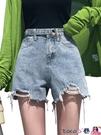 熱賣牛仔短褲 高腰牛仔短褲女夏寬鬆2021年春夏裝新款網紅闊腿破洞熱褲子潮 coco