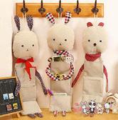 【易奇寶】韓式可愛兔仔三口棉麻布藝掛袋