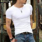 純白色黑色短袖t恤男士半袖棉質純色打底衫修身體恤緊身衣服汗衫【好康八九折下殺】