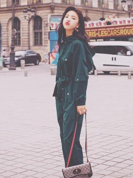 2019春秋新款韓版高腰顯瘦長袖連身褲子女潮工裝套裝連帽連身衣褲怦然心動 nms