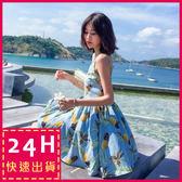 梨卡★現貨 - 度假性感水果印花細肩帶露背沙灘裙連身裙連身短裙洋裝C6362