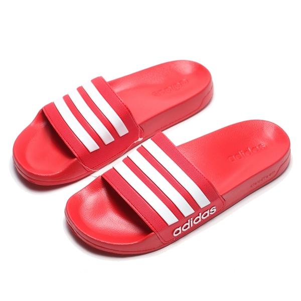 ADIDAS 拖鞋 ADILETTE 紅白 運動拖 海灘 防水 男女 (布魯克林) AQ1705