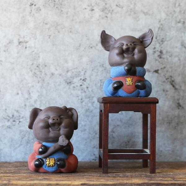 墨守 千豬變彩砂陶瓷紫砂五福豬茶玩精品創意 茶寵擺件精品 可養1入