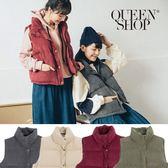 Queen Shop【02080029】燈蕊絨舖棉排扣造型保暖背心 四色售*現+預*