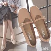 粗跟高跟鞋2019新款方頭粗跟中跟奶奶鞋一字扣單鞋韓版女鞋工作鞋高跟鞋 PA8062『紅袖伊人』