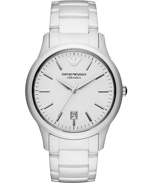Emporio Armani 亞曼尼 完美時尚陶瓷經典手錶-白 AR1476