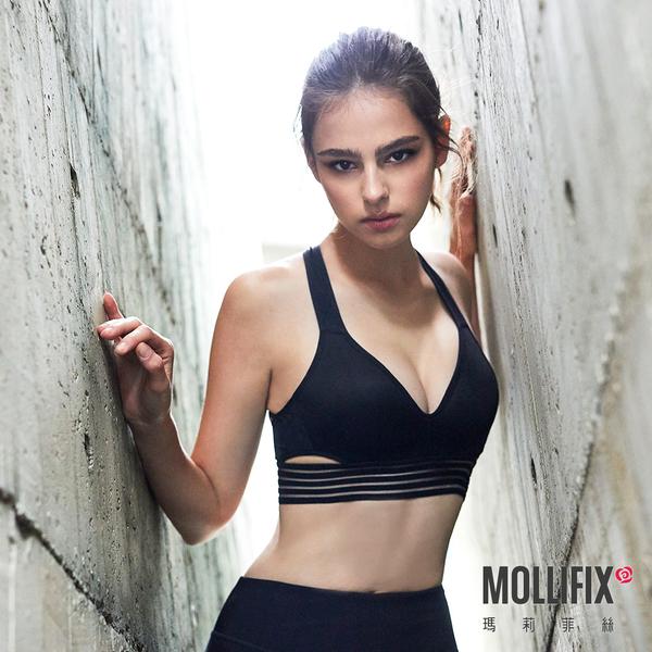 Mollifix 瑪莉菲絲 MoveFree 深V曲線運動BRA (黑)