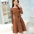 長袖洋裝韓版新款時尚大碼百搭長袖純色潮流休閒洋裝 麥琪精品屋