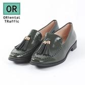 【ORiental TRaffic】時髦編織方頭流蘇樂福鞋-時髦綠