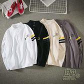秋季情侶長袖T恤男士休閒衣服韓版條紋POLO衫上衣學生潮男裝體恤 自由角落