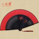 中國風大紅色新娘隨身小扇子古典漢服女士古風復古折扇日式舞蹈扇