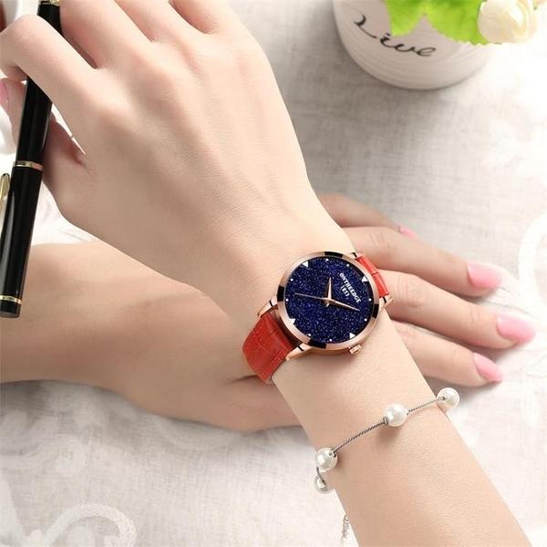 手錶 瑞之緣手表女士時尚潮流女表真皮帶防水表學生石英表韓版超薄 歐歐
