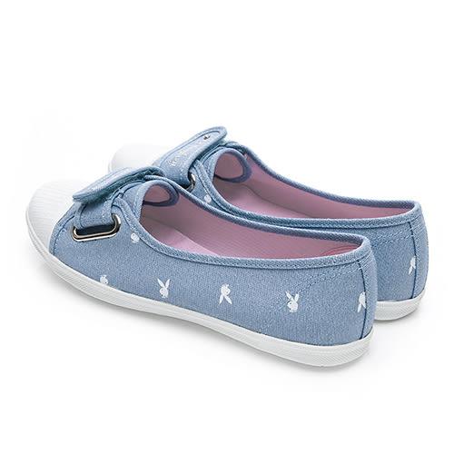 PLAYBOY 亮蔥輕便丹寧帆布便鞋-藍