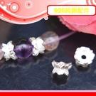 銀鏡DIY S925純銀材料配件/5.5mm亮銀蓮花造型花蓋/珠托~手作串珠/水晶提昇質感