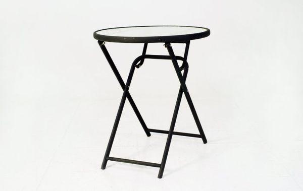 【南洋風休閒傢俱】戶外休閒系列-60CM鐵製折合玻璃圓桌 戶外餐桌 咖啡桌 適民宿 餐廳 (S47132P)