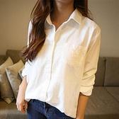 棉麻白襯衫女秋裝復古風穿搭襯衣港味顯瘦長袖上衣設計感小眾襯衫