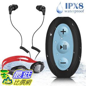 [107美國直購] 耳機 AGPTEK 8GB Waterproof MP3 Player with Shuffle IPX8 Underwater Headphones