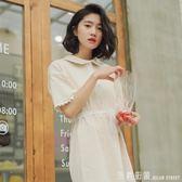 洋裝 襯衫裙女學生韓版2018新款夏裝短袖寬鬆小清新娃娃領裙子洋裝/連身裙潮 米蘭街頭