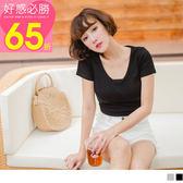 OB嚴選《AB6776》高含棉前衛性感後鏤空綁帶設計V領短版T恤上衣--適 S~2L