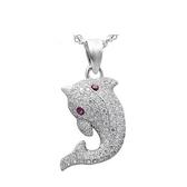 925純銀項鍊+鑲鑽吊墜-海豚造型生日情人節禮物女配件73df47【時尚巴黎】