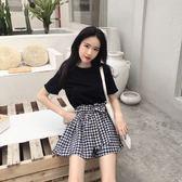 【GZ83】韓版寬鬆顯瘦短袖T恤+綁帶蝴蝶結格紋寬褲兩件套套裝