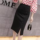 2021春裝新款百搭修身女包臀裙性感氣質職業黑色顯瘦開叉半身裙子 快速出貨