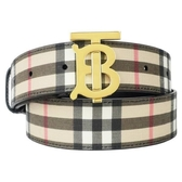【南紡購物中心】BURBERRY 經典格紋環保帆布黃銅BT LOGO皮帶(卡其x黑)
