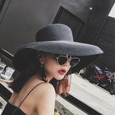 618大促 法式黑色燈罩草帽復古夏天太陽帽女大檐平頂草帽