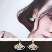耳環 閃亮 扇形 鑲鑽 鏤空 個性 甜美 耳環【DD1711030】 icoca  11/30