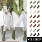 OT SHOP [現貨] 襪子 中筒襪 棉襪 糖果襪 超彈性 純色 日韓基本款 麻灰/大地/牛油果/暖橘色系 M1065