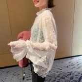 蕾絲衫女秋季新款韓版網紗內搭花邊蕾絲領超仙洋氣打底上衣 韓國時尚週