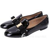 Salvatore Ferragamo SCOTTY 蝴蝶结飾漆皮樂褔鞋(黑色) 1340667-01