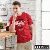 【JEEP】美式LOGO立體浮雕短袖TEE-紅