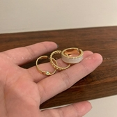 戒指 時尚素圈戒指三件套套裝組合個性ins潮冷淡風開口可調節食指戒女 韓國時尚週