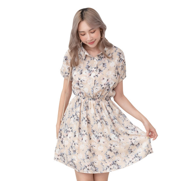東京著衣【YOCO】YOCO-極緻優雅印花排釦腰鬆緊洋裝-S.M.L(190434)