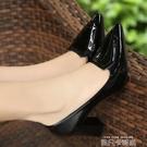 春季新款粗跟單鞋高跟鞋韓版女鞋小碼尖頭中跟職業上班工作鞋 依凡卡時尚