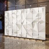可折疊移動推拉3d白色屏風隔斷酒店酒樓臥室客廳時尚簡約布藝折屏 最後一天8折