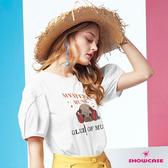 【SHOWCASE】MUSIC鬥牛犬鈕釦澎袖休閒印花T恤(白色)